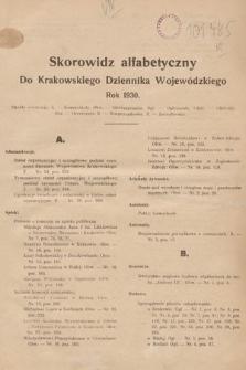 Krakowski Dziennik Wojewódzki. 1930, skorowidz alfabetyczny