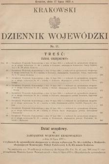 Krakowski Dziennik Wojewódzki. 1935, nr17