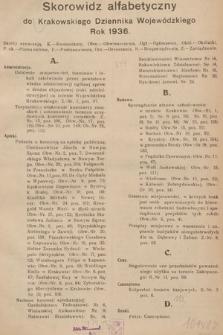 Krakowski Dziennik Wojewódzki. 1936, skorowidz alfabetyczny