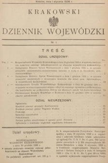 Krakowski Dziennik Wojewódzki. 1936, nr1