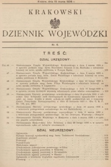Krakowski Dziennik Wojewódzki. 1936, nr6