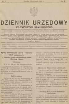 Dziennik Urzędowy Województwa Krakowskiego. 1922, nr1