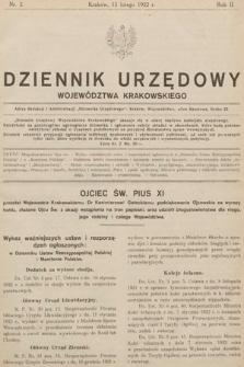 Dziennik Urzędowy Województwa Krakowskiego. 1922, nr2
