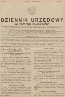 Dziennik Urzędowy Województwa Krakowskiego. 1922, nr5