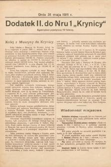 """Dodatek II. Do Nru 1 """"Krynicy"""". 1911"""