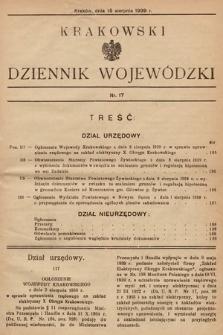 Krakowski Dziennik Wojewódzki. 1939, nr17