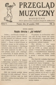 Przegląd Muzyczny. 1929, nr12