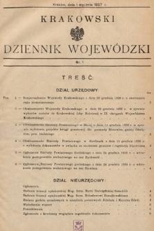 Krakowski Dziennik Wojewódzki. 1937, nr1