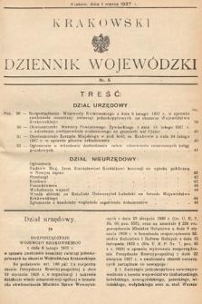 Krakowski Dziennik Wojewódzki. 1937, nr5