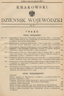 Krakowski Dziennik Wojewódzki. 1937, nr17