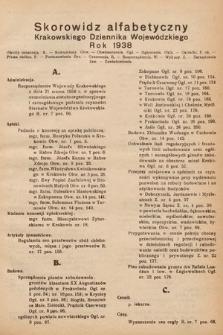 Krakowski Dziennik Wojewódzki. 1938, skorowidz alfabetyczny
