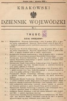 Krakowski Dziennik Wojewódzki. 1938, nr1