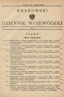 Krakowski Dziennik Wojewódzki. 1938, nr7