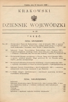 Krakowski Dziennik Wojewódzki. 1938, nr27
