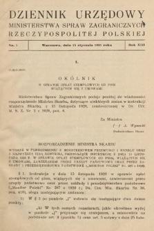 Dziennik Urzędowy Ministerstwa Spraw Zagranicznych Rzeczypospolitej Polskiej. 1931, nr1