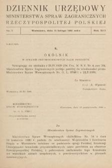 Dziennik Urzędowy Ministerstwa Spraw Zagranicznych Rzeczypospolitej Polskiej. 1931, nr2