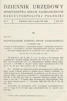 Dziennik Urzędowy Ministerstwa Spraw Zagranicznych Rzeczypospolitej Polskiej. 1931, nr3