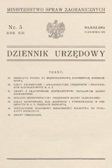 Dziennik Urzędowy. Ministerstwo Spraw Zagranicznych. 1931, nr5