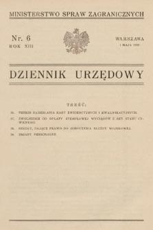 Dziennik Urzędowy. Ministerstwo Spraw Zagranicznych. 1931, nr6
