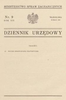 Dziennik Urzędowy. Ministerstwo Spraw Zagranicznych. 1931, nr9
