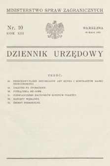 Dziennik Urzędowy. Ministerstwo Spraw Zagranicznych. 1931, nr10