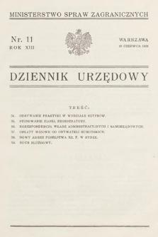 Dziennik Urzędowy. Ministerstwo Spraw Zagranicznych. 1931, nr11