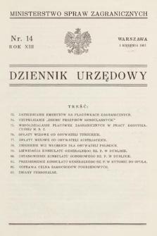 Dziennik Urzędowy. Ministerstwo Spraw Zagranicznych. 1931, nr14