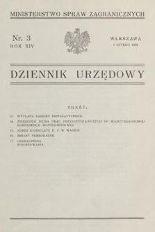 Dziennik Urzędowy. Ministerstwo Spraw Zagranicznych. 1932, nr3
