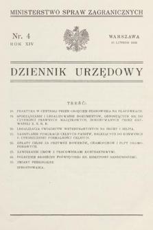 Dziennik Urzędowy. Ministerstwo Spraw Zagranicznych. 1932, nr4