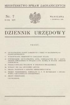Dziennik Urzędowy. Ministerstwo Spraw Zagranicznych. 1932, nr7