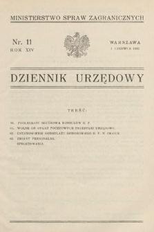 Dziennik Urzędowy. Ministerstwo Spraw Zagranicznych. 1932, nr11