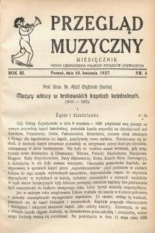 Przegląd Muzyczny. 1927, nr4
