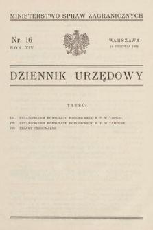 Dziennik Urzędowy. Ministerstwo Spraw Zagranicznych. 1932, nr16