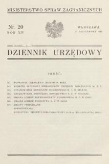 Dziennik Urzędowy. Ministerstwo Spraw Zagranicznych. 1932, nr20