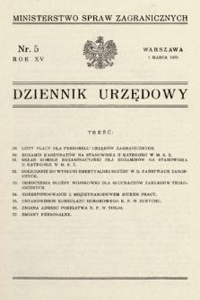 Dziennik Urzędowy. Ministerstwo Spraw Zagranicznych. 1933, nr5