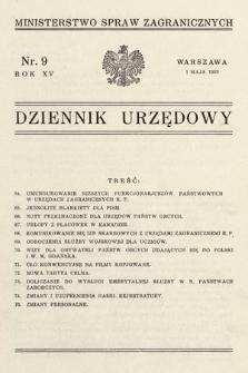 Dziennik Urzędowy. Ministerstwo Spraw Zagranicznych. 1933, nr9