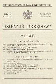 Dziennik Urzędowy. Ministerstwo Spraw Zagranicznych. 1933, nr19