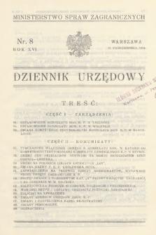Dziennik Urzędowy. Ministerstwo Spraw Zagranicznych. 1934, nr8