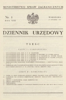 Dziennik Urzędowy. Ministerstwo Spraw Zagranicznych. 1935, nr1