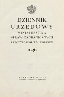 Dziennik Urzędowy Ministerstwa Spraw Zagranicznych Rzeczypospolitej Polskiej. 1936, skorowidz