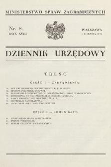 Dziennik Urzędowy. Ministerstwo Spraw Zagranicznych. 1936, nr8