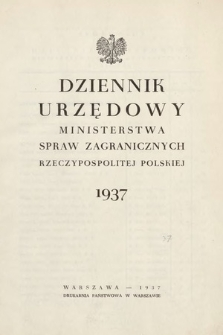 Dziennik Urzędowy Ministerstwa Spraw Zagranicznych Rzeczypospolitej Polskiej. 1937, skorowidz