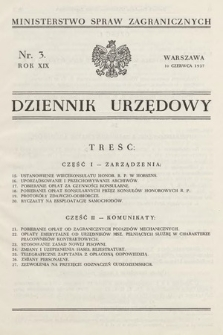 Dziennik Urzędowy. Ministerstwo Spraw Zagranicznych. 1937, nr3