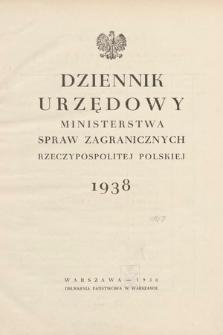 Dziennik Urzędowy Ministerstwa Spraw Zagranicznych Rzeczypospolitej Polskiej. 1938, skorowidz
