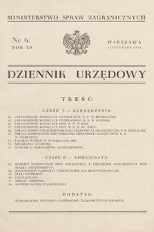 Dziennik Urzędowy. Ministerstwo Spraw Zagranicznych. 1938, nr6