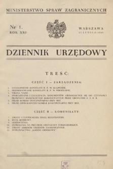 Dziennik Urzędowy. Ministerstwo Spraw Zagranicznych. 1939, nr1