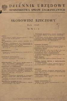 Dziennik Urzędowy Ministerstwa Spraw Zagranicznych. 1949, skorowidz rzeczowy
