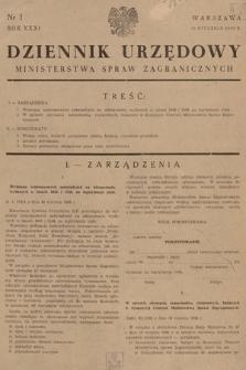 Dziennik Urzędowy Ministerstwa Spraw Zagranicznych. 1949, nr1