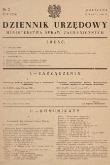 Dziennik Urzędowy Ministerstwa Spraw Zagranicznych. 1949, nr2