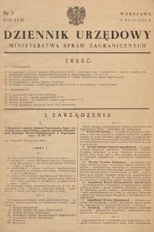 Dziennik Urzędowy Ministerstwa Spraw Zagranicznych. 1949, nr3